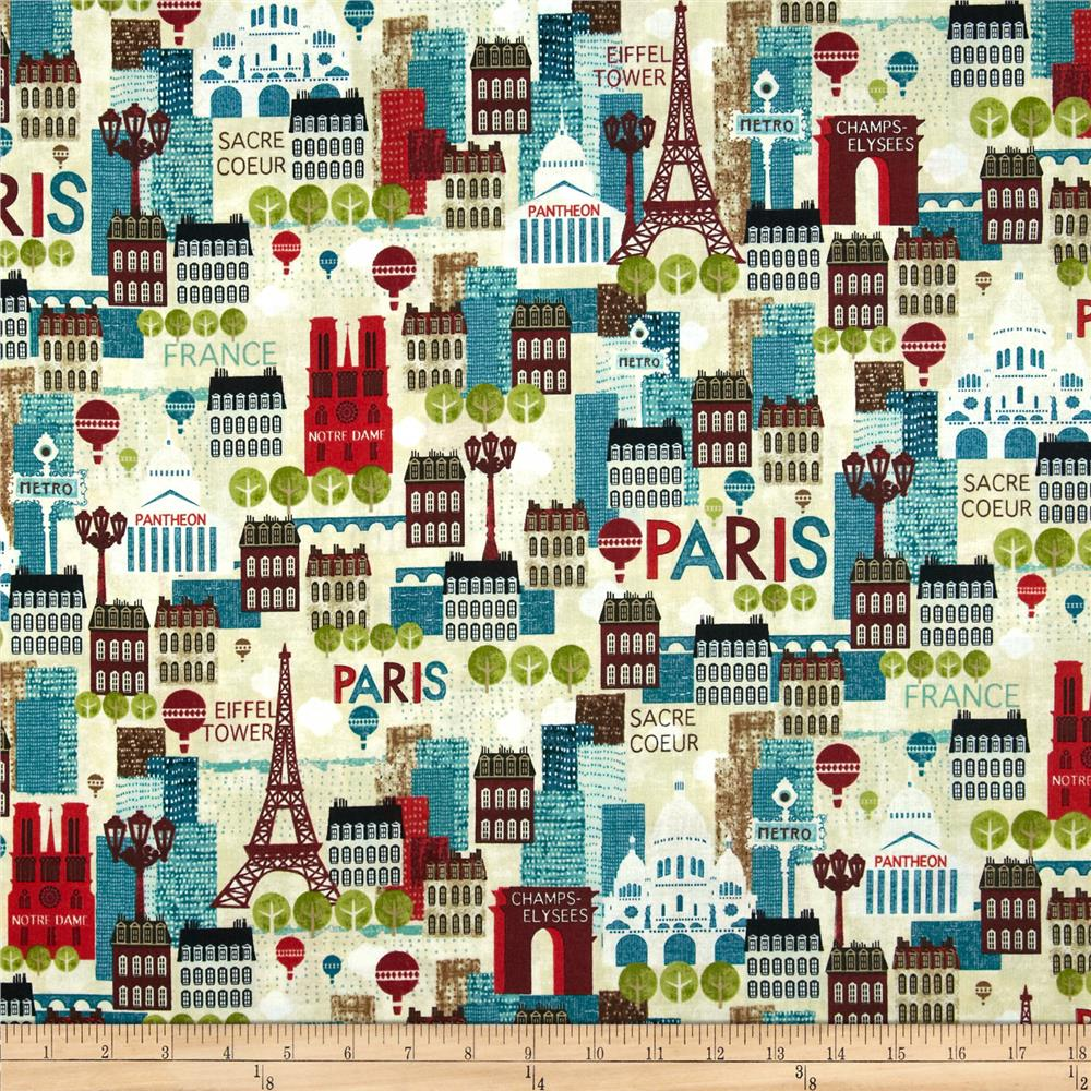 Hello Paris Scenic Bright Ecru/Multi