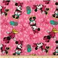 Disney Minnie Bags & Bows Minnie Flannel Allover Pink
