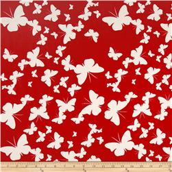 Poplin Print Butterflies Red