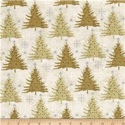 Holiday Meadow Trees Allover Tan