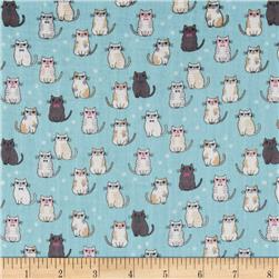 Double Gauze Little Kitties Blue