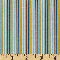Riley Blake Rocket Age Stripes Blue Fabric