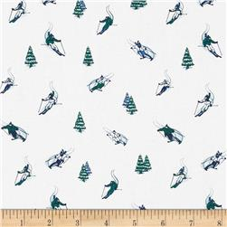 Dear Stella Tinsel Town Skiers Blue Fabric