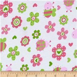 Cotton Jersey Knit Bees and Flowers Pink/Green