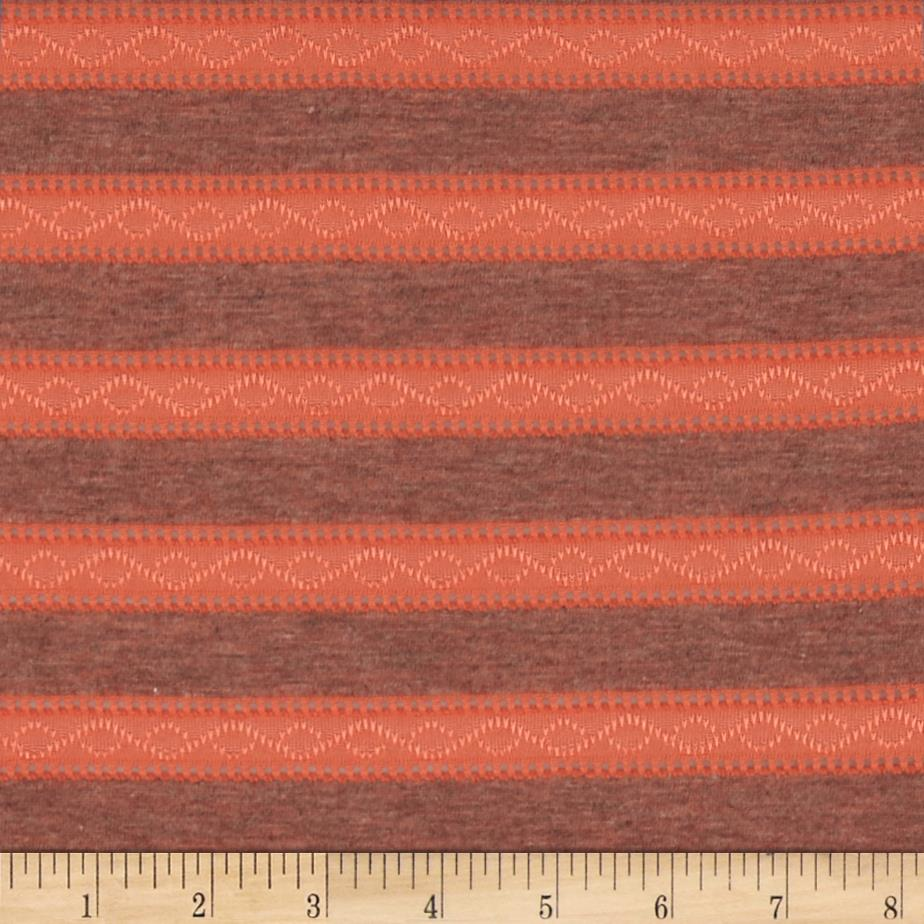 Eyelet Stripe Jersey Knit Coral Orange