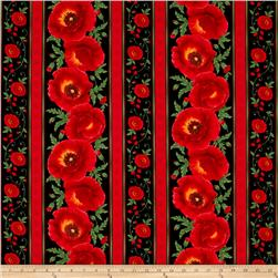 Timeless Treasures Poppy Grove Stripe Black