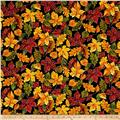 Timeless Treasures Autumn Bounty Metallic Autumn Leaves Black