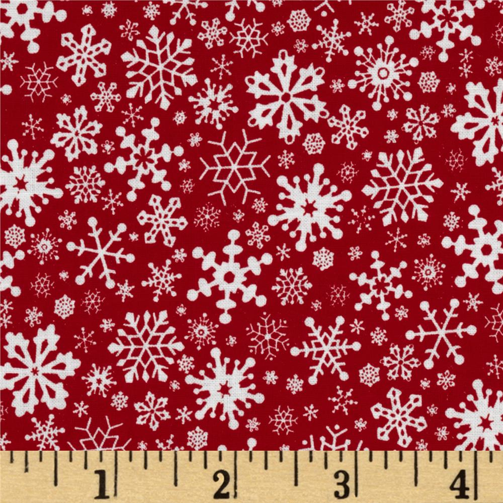 Merry Christmas Snowflakes Red