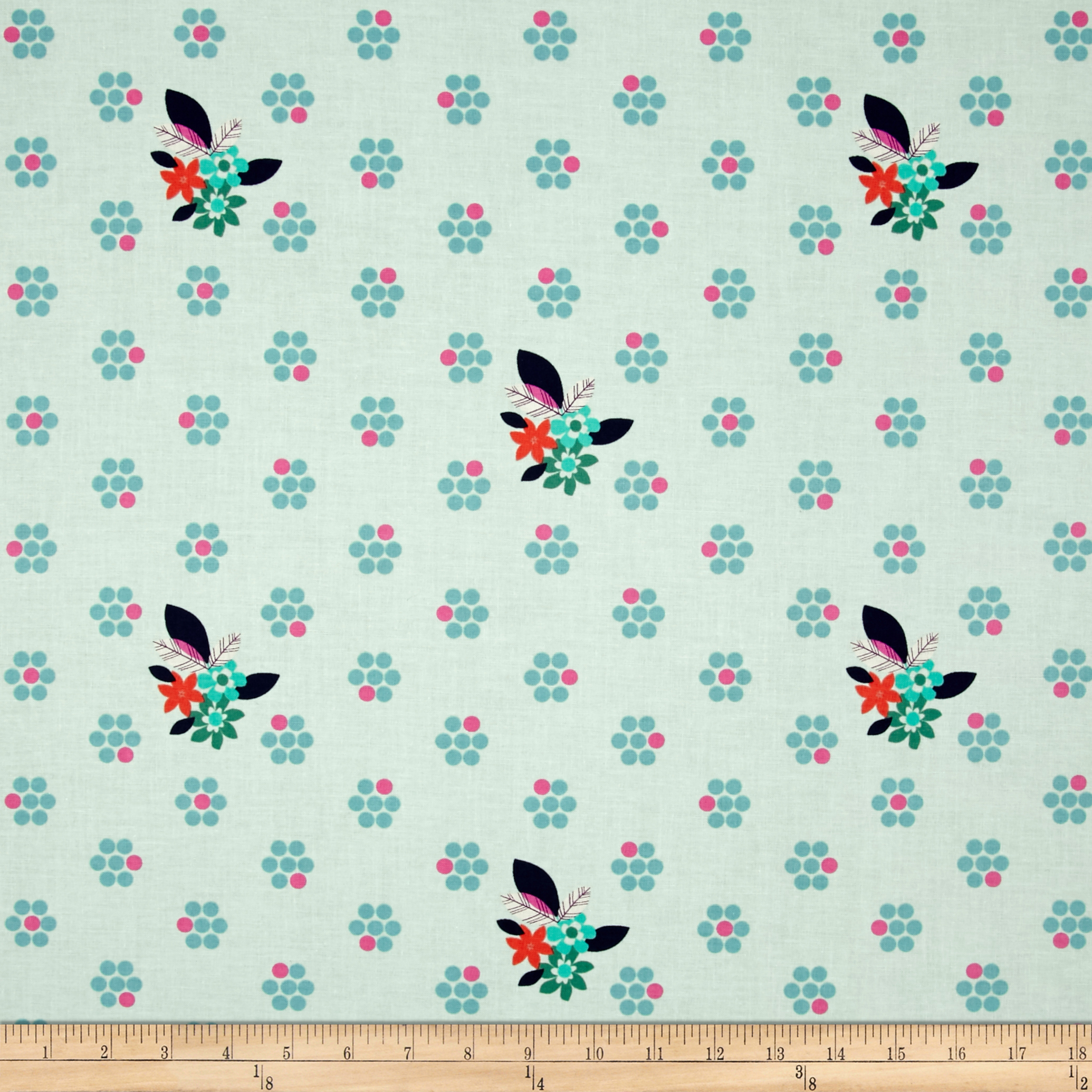 Image of Cotton + Steel Fruit Dots Fruit Blossom Mint Fabric