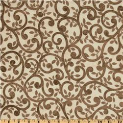 Normandy Court 108'' Quilt Backing Scrolling Vines Taupe/Cream