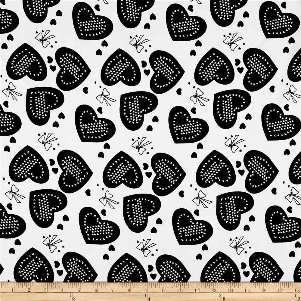 Polyester Crepe Hearts & Bows White/Black