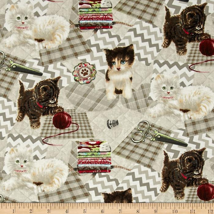 Krafty Kittens Kittens On Patchwork Beige