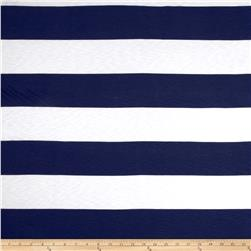 Designer Tissue Slub Rayon Jersey Knit Stripes Dark Blue/White