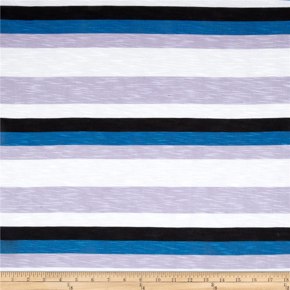 Designer Rayon Jersey Knit Stripe Print Blue/Purple/Black