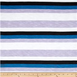 Designer Rayon Jersey Knit Stripe Print Blue/Purple/Black Fabric
