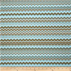 A.E. Nathan Chevron Turquoise/Brown/White Fabric