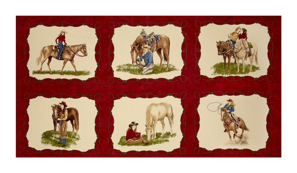 "Moda Cowgirl Country Cowgirl 23.5"" Panel Rodeo Red"