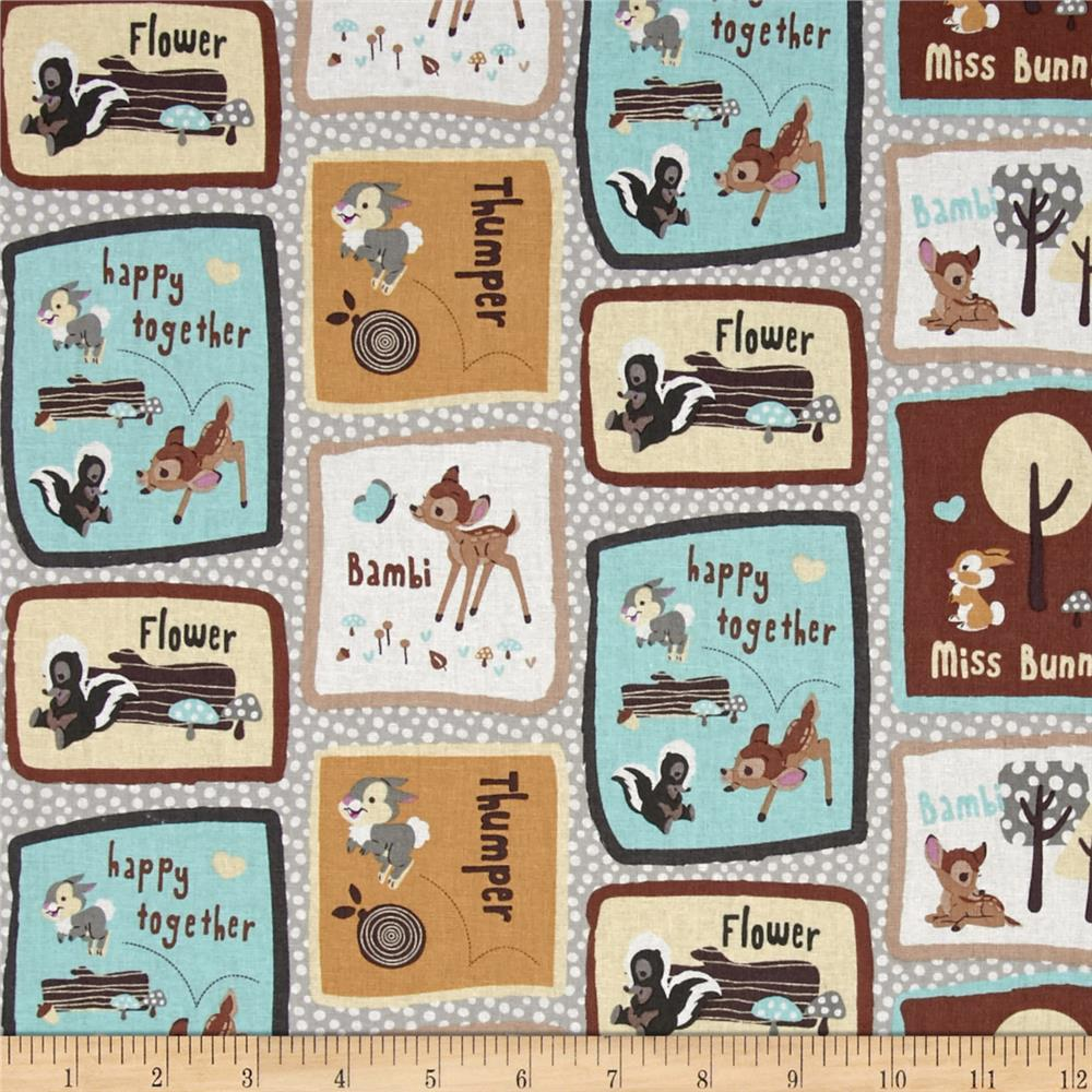 Disney Bambi Happy Together Bambi & Friends Patch Brown Fabric By The Yard