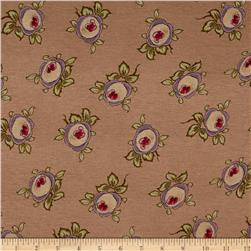 Cotton Jersey Knit Roses Tan