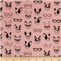 Kokka Trefle Soft Animals French Bull Dogs Double Gauze Pink