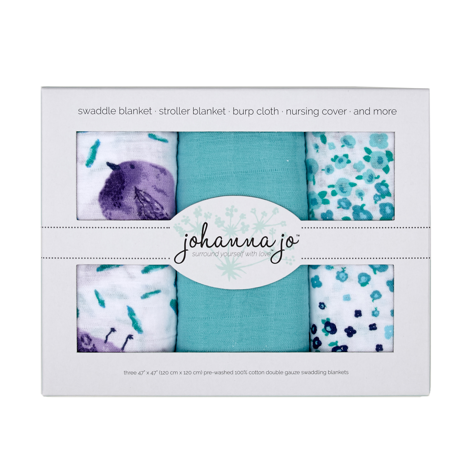 Embrace Double Gauze Swaddle 3 Pack Birdie by Shannon in USA