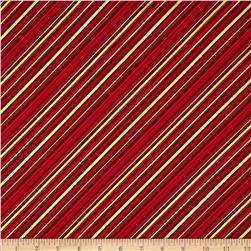 Season's Greetings Metallic Diagonal Stripe Red