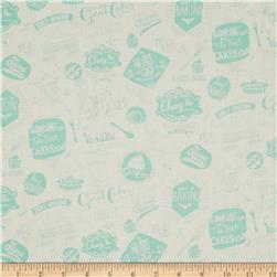 Retro Bake Words Teal Fabric