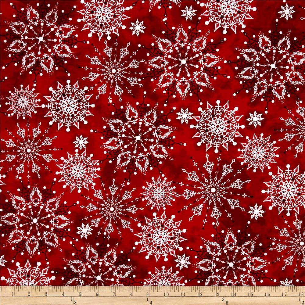 Christmas Dreams Snowflakes Dark Red Fabric By The Yard