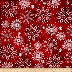 Christmas Dreams Snowflakes Dark Red