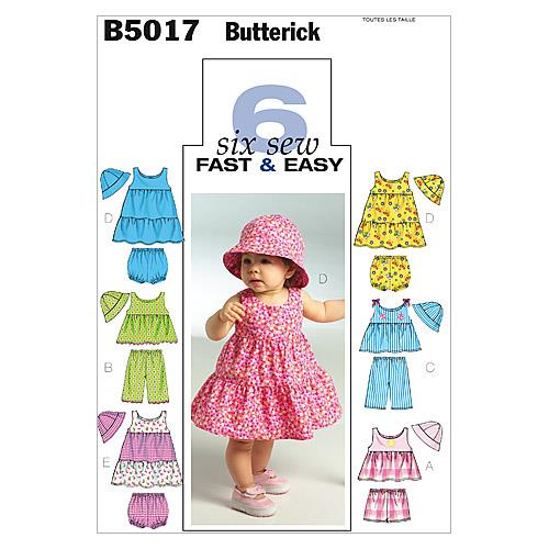 Butterick Infants' Top, Dress, Panties, Shorts, Pants and Hat Pattern B5017 Size OSZ