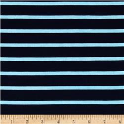 Riley Blake Stretch Cotton Jersey Knit Stripe Aqua/Navy