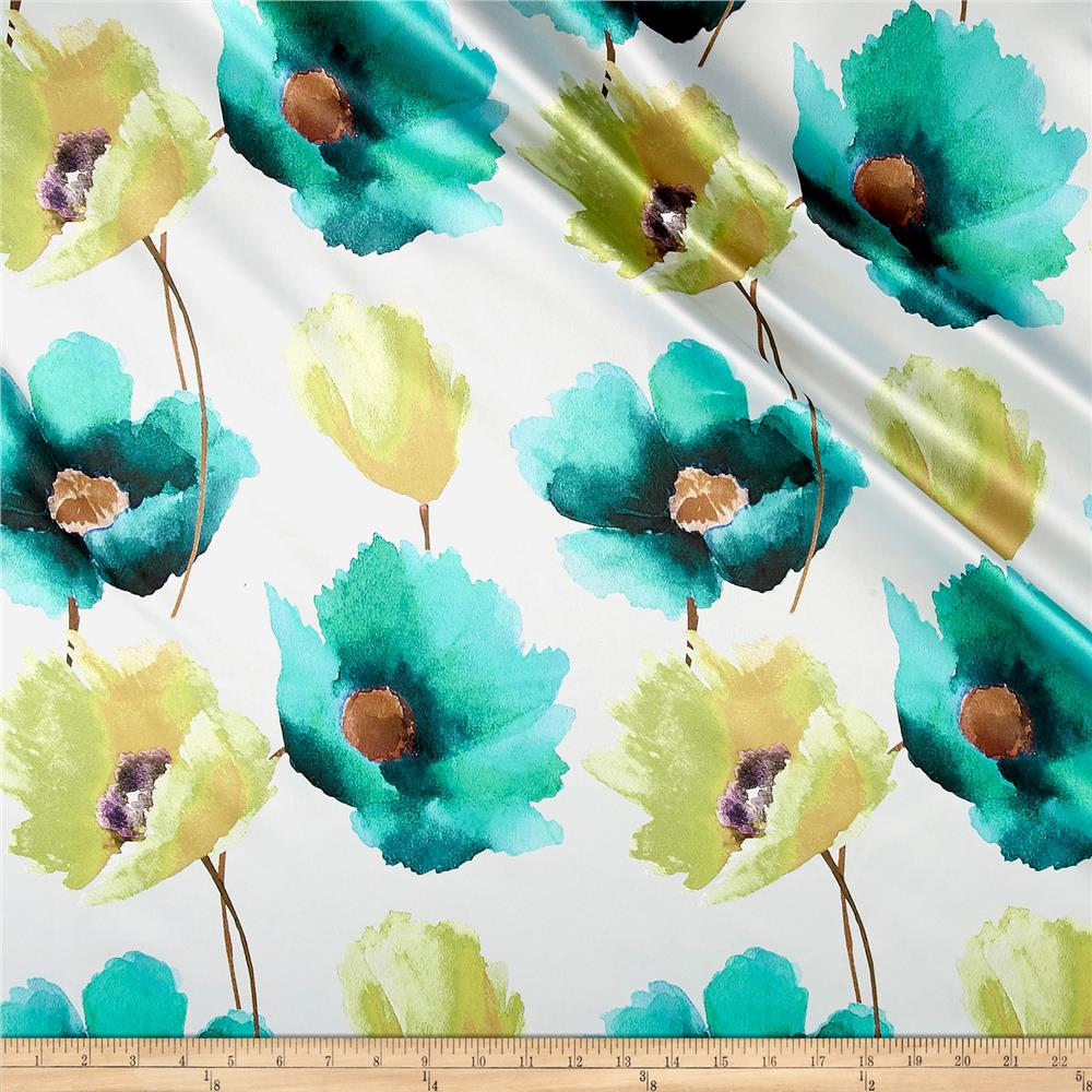 Anthium Floral Satin Turquoise/Chartreuse Fabric