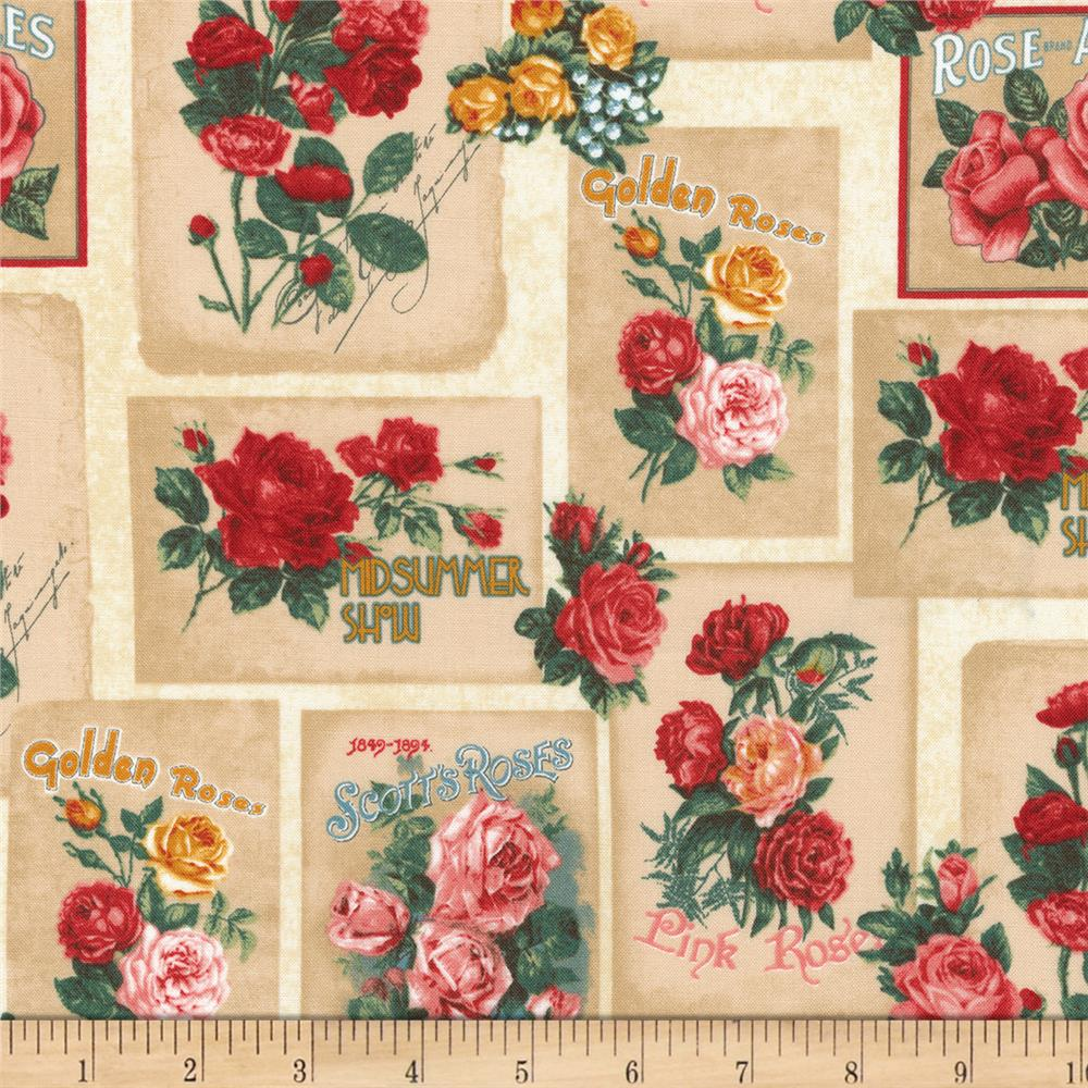 Kaufman Heirloom Diary Flower Blocks Vintage
