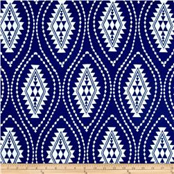 Rayon Challis Geo Aztec Prints Royal/White