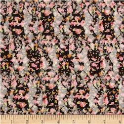 Printed Lace Floral Black/Pink/Taupe