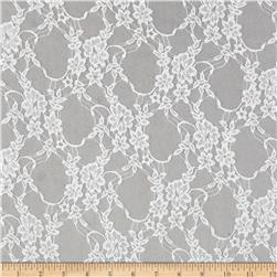 Stretch Nylon Lace Floral White