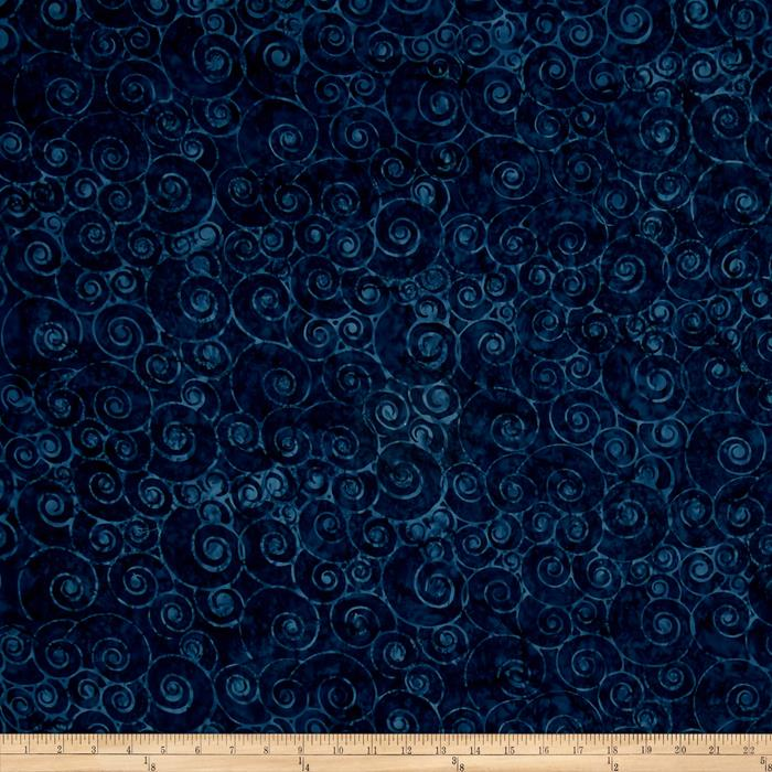 Timeless Treasures Tonga Batiks Lakeshore Snail Shells Indigo