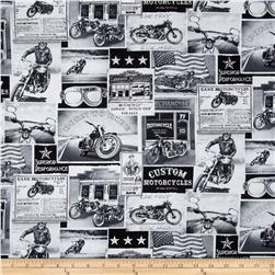Timeless Treasures Vintage Motorcycles Black