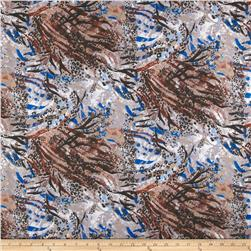 Spun Poly Poplin Abstract Blue/Brown/Grey Fabric