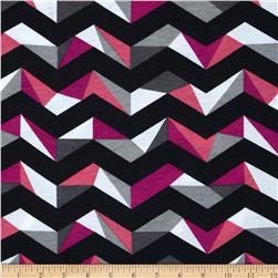 Fashionista Jersey Knit Big Geo Chevron Pink
