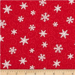 Moda Ho! Ho! Ho! Swirling Flakes Santa Suit Red