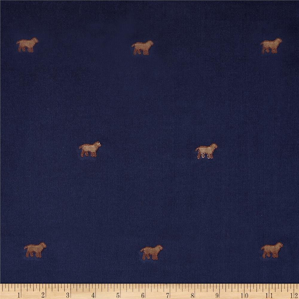 Embroidered 21 Wale Corduroy Dog Navy/Brown