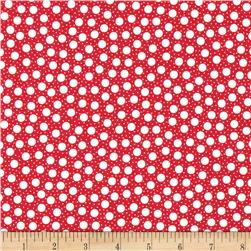 Moda Red Dot Green Dash Brushed Cottons Snow Storm Poinsettia Red