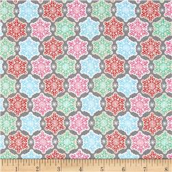 Sugar Rush Frosted Snowflakes Grey Fabric