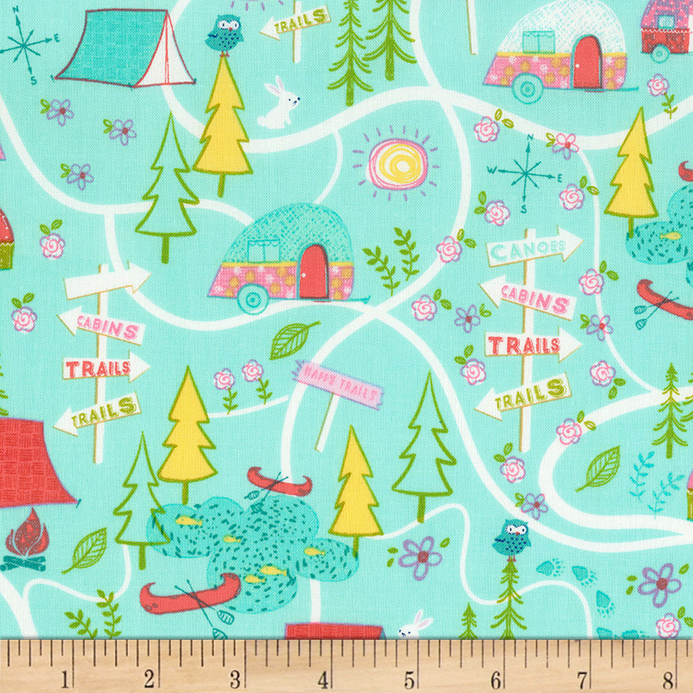 Timeless Treasures Happy Trails Camping Map Aqua Fabric