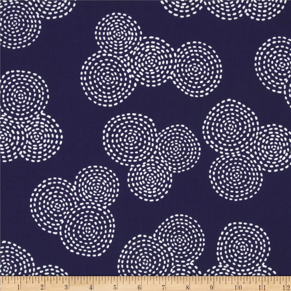 Michael Miller Stitch Floral Circle Navy
