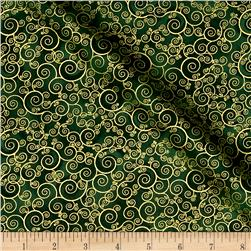Timeless Treasures Christmas Morning Metallic Scroll Green