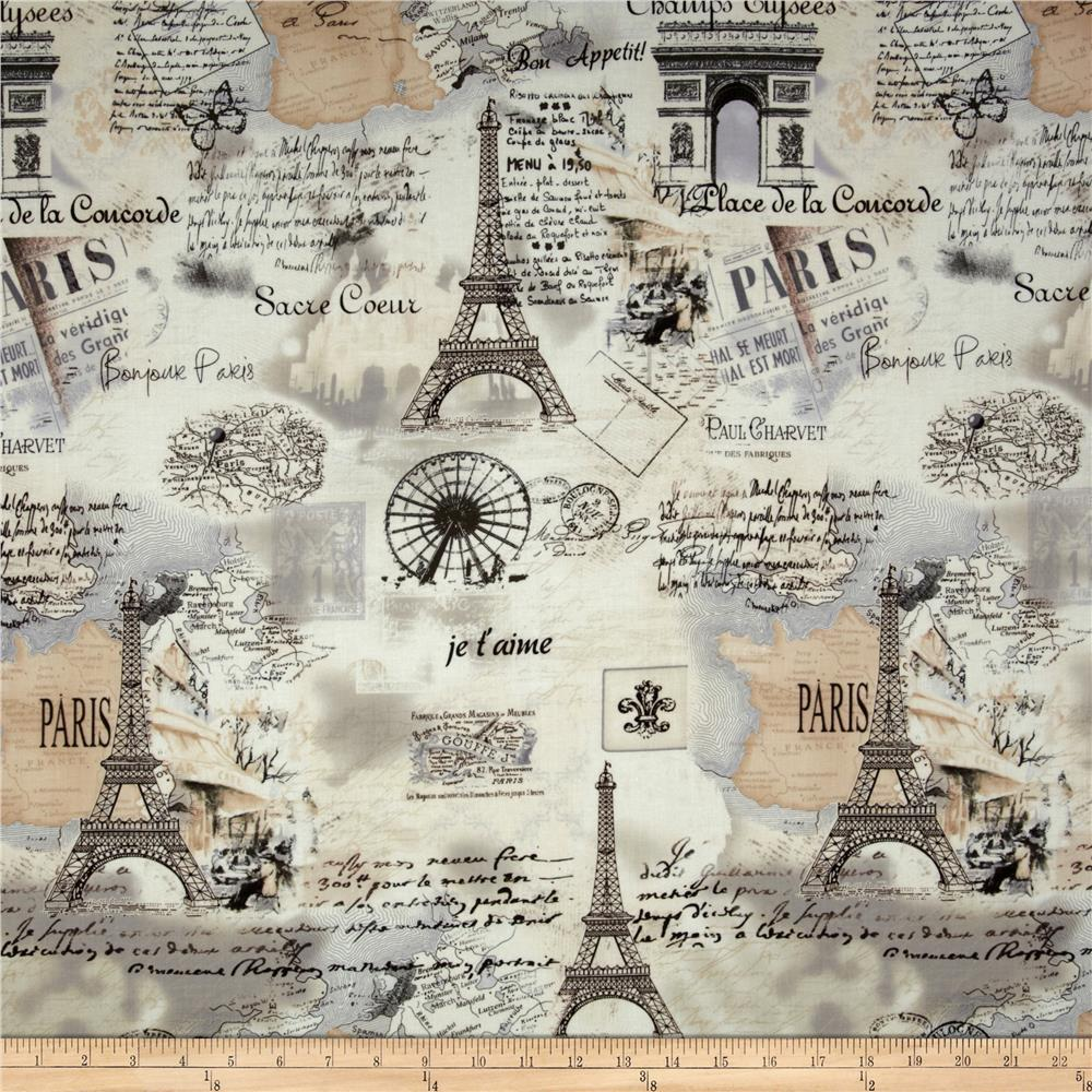 Timeless Treasures Letters From Paris Paris Map Cream Discount - Paris map fabric