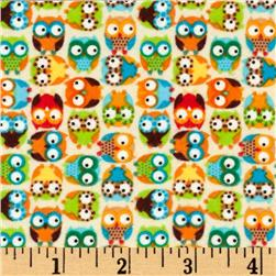 Timeless Treasures Cuddle Flannel Mini Owls Beige