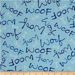 Paw Prints Woof Blue